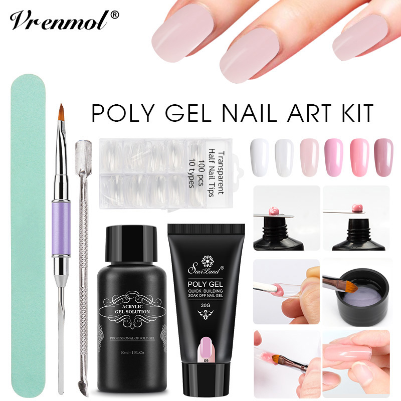 Vrenmol Poly Gel UV Quick Builder Gel Fast Extention Hard Gel Jelly Acrylic Crystal PolyGel Liquid Slip Solution Nail Brush Kits