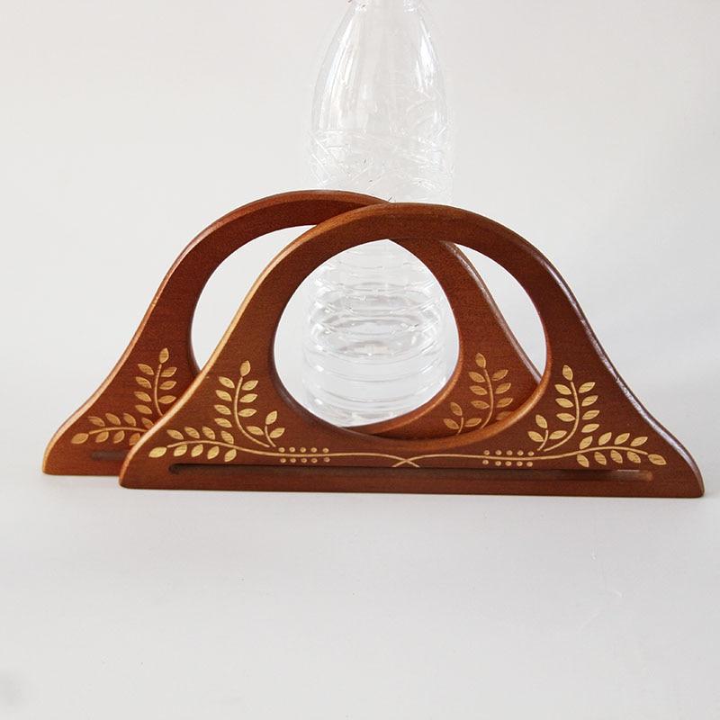 Four Piece=Two Pair Size 24.5X11.5 carve patterns Engraving Flower Wood Bag Handle Purse Frame Hanger Brown Wooden Purse Handle