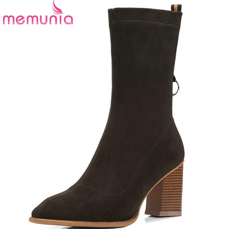 Stretch Memunia Haute Sur 2018 Caffeine Femmes Solide Noir Bottes Couleur Mode Top Cheville Glissement deep Robe Automne Hiver Chaussettes Talons Chaussures Qualité Pn0w8Ok