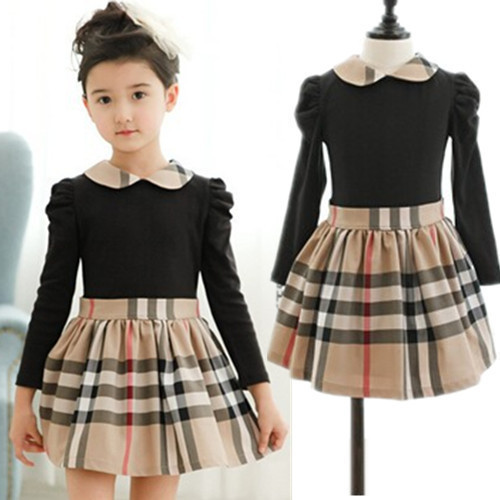 2016 Designer Long Sleeve Kids Girls 3 7Yrs Plaid Dress Children ...