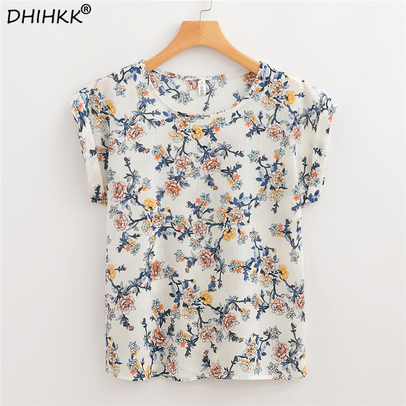 DHIHKK Women Chiffon   Blouses     Shirts   2018 Summer Floral Print Loose Short Sleeve O-neck   Blouse   Fashion Ladies Female Blusas