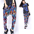 Fashion Harem Pants! Spring Plus Size Baggy Harem Pants Hip-hop small skull stitching Printing Trouser with tracking number