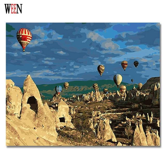 Us 798 50 Offtot Luftballon Bilder Malen Nach Zahlen Diy Digital Türkei Stil Wand öl Leinwand Kunst Färbung Durch Zahlen Kunstwerk 2017