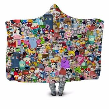 Adventure Time Cartoon 3D Print Plush Hooded Blanket 1