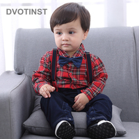 Dvotinst Baby Boy Clothes Full Sleeves Gentleman Bow Tie Romper Outfit Suspender Pants Infant Toddler Wedding Jumpsuit Birthday