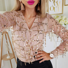 Sweet Fashion Long Sleeve Clothing Tops Spring Cross V-neck Sequin Shiny Womens Gold Blouses Slim Mesh Ladies Top Sexy Shirt