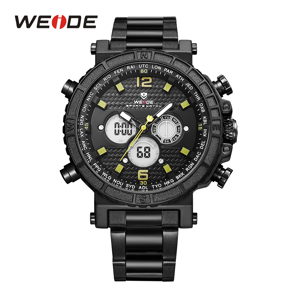 WEIDE Mens Watches Quartz Alarm Stop Watch Analog Date LCD Digital Display Stainless Steel Band Backlight Wristwatches For Sport weide popular brand watch men quartz double movement analog digital date alarm stopwatch display waterproof pu straps watches