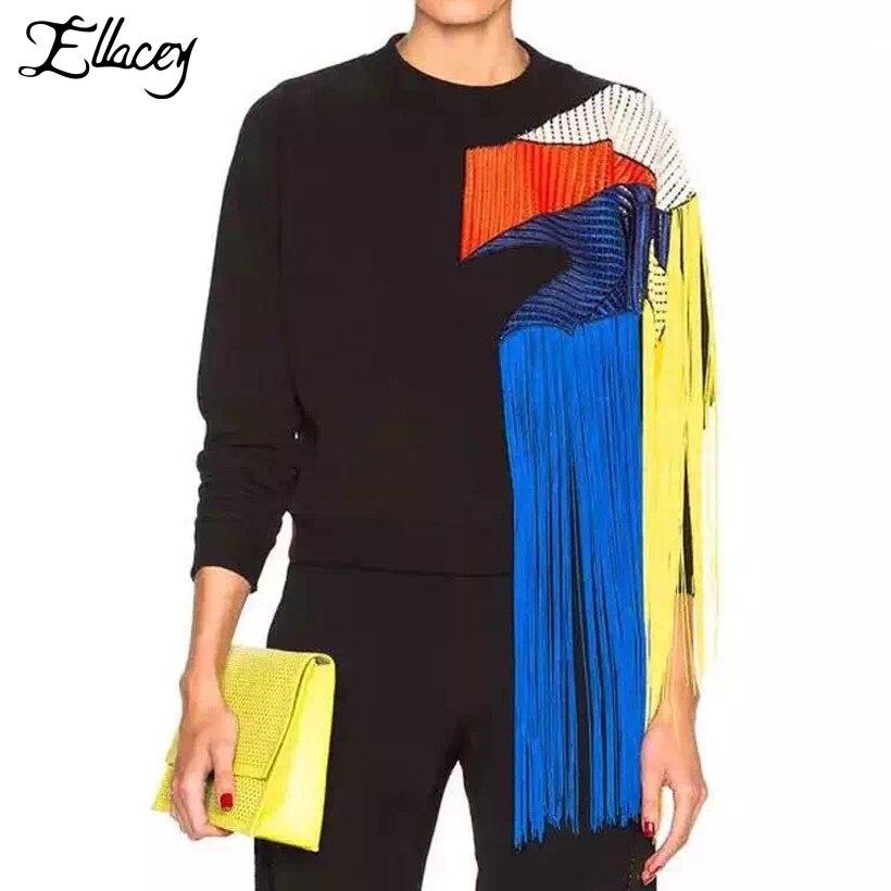 Ellacey nouveau automne haute rue sweat femmes arc-en-ciel gland pull à capuche multicolore maille fil Patchwork pulls