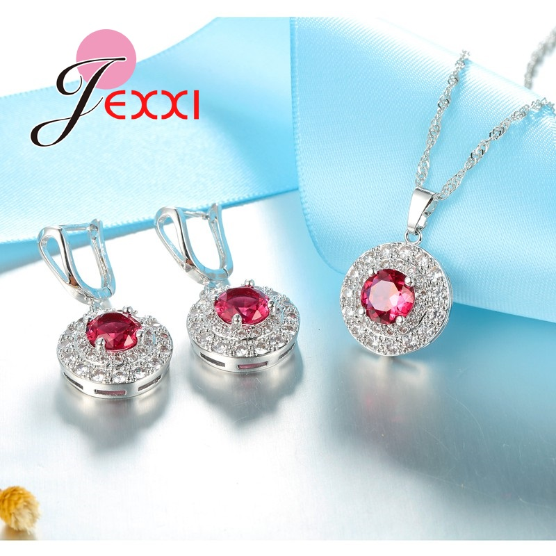 PATICO Fashion Top Quality Red Cubic Zircon Crystal Wedding Bridal Jewelry Set For Woman 925 Sterling Silver Bride Jewellery Set