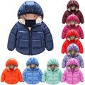 Niños Sólido Con Capucha Chaqueta de la Capa Caliente Outwear Invierno Infantil Chicos Chica Pato Abajo Snowsuit Ropa 1-6Y