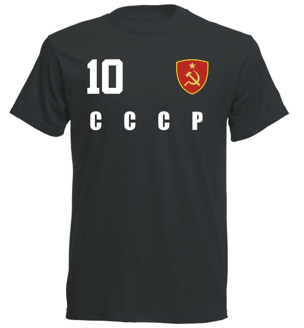 e43a0a3e837 2019 Hot sale Summer Style CCCP Soviet Union 2019 T-shirt Jersey Style  Footballer Number
