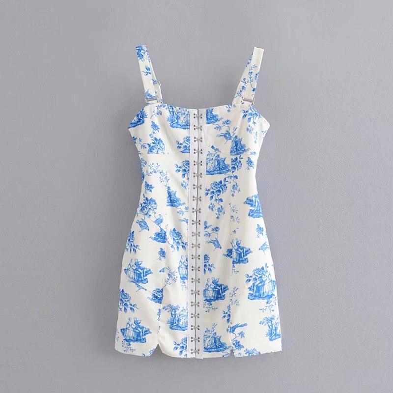 Vintage Chic Blue and White Porcelain Print Hook Button Dress Sexy Elegant Ladies Square Collar Sling Mini Dresses