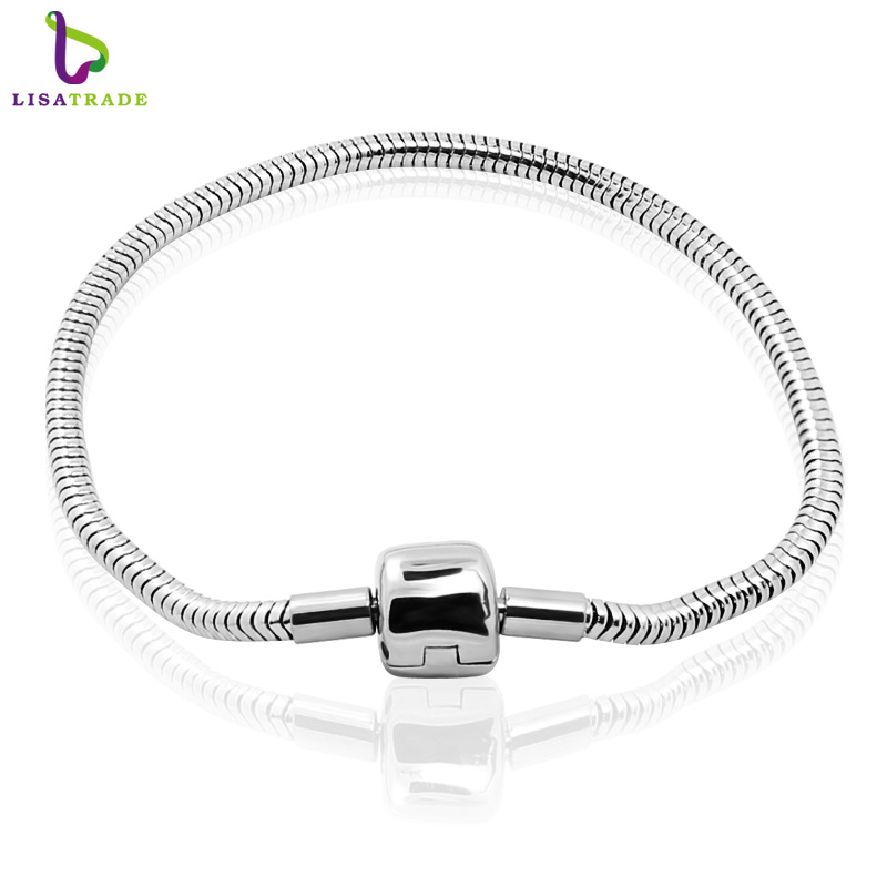 10PCS Wholesale Fashion Jewelry Stainless steel PAN Bracelet  3MM Snake Chain charm Bracelets fit women braceletsPABR15 16*10-in Charm Bracelets from Jewelry & Accessories    1