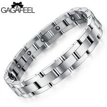 Los hombres de moda de acero titanium pulsera magnética salud pulsera brazalete enlace cadena de la amistad de la joyería de lujo de negocios regalos b8012