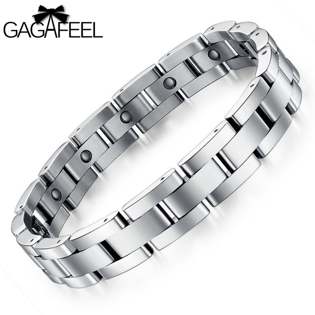 Gagafeel Trendy Men Anium Steel Magnetic Bracelet Health Care Business Bracelets Wristband Bangle Luxury Jewelry