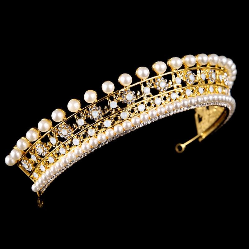 Bridal Wedding Beauty Pageant Rhinestone Crystal Tiara Crown  Faux Pearls Silver Gold Bride Headband Hair Accessories Jewelry