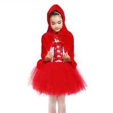 Girls Costume Little Red Riding Hood Criss-Cross Bow Teenager Dress Casual Halloween Carnival Tutu with Cloak
