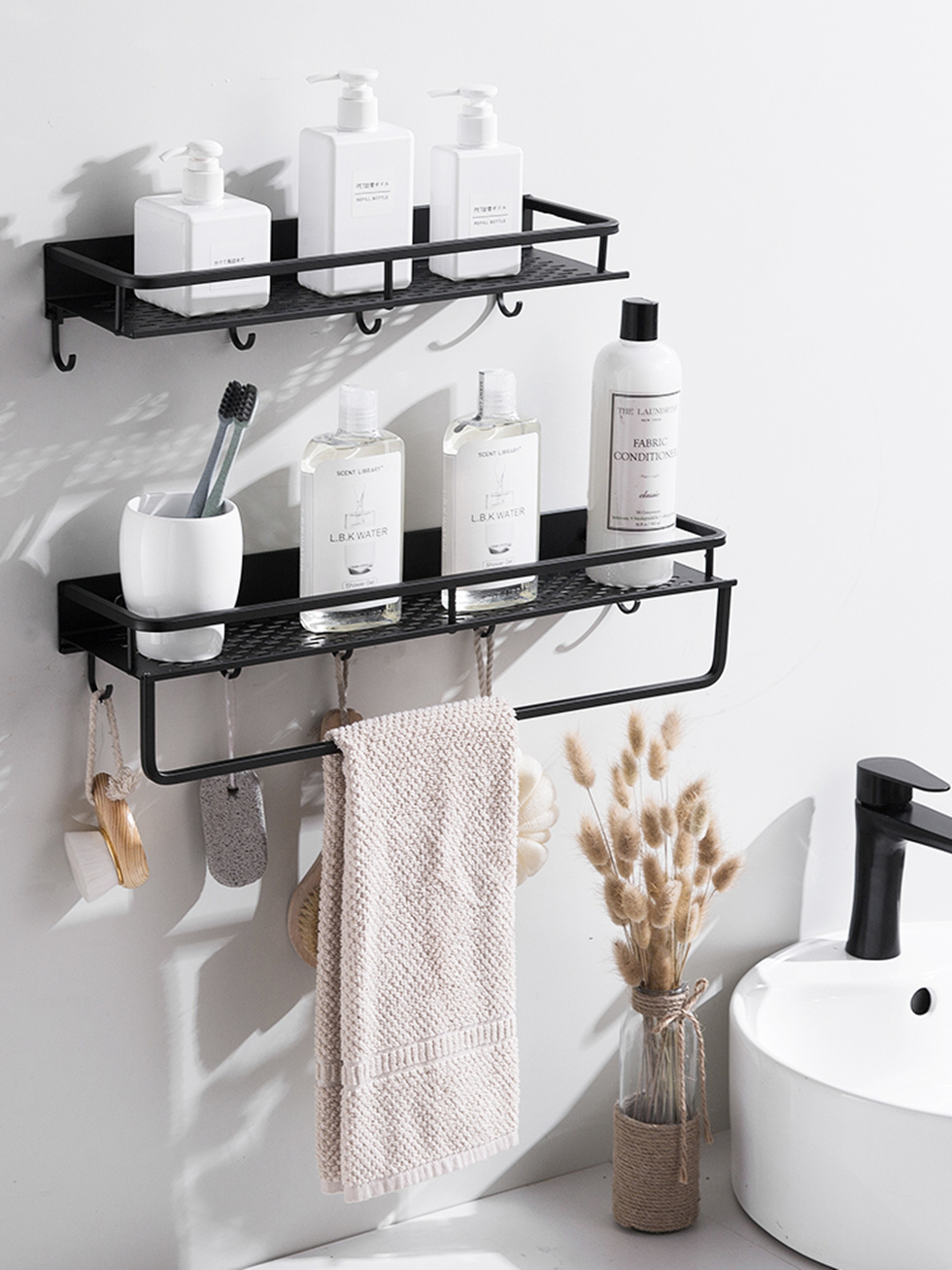 Matt Black Wall Mounted Shelf Cookware Pantry Storage Organizer Kitchen Pantry Bathroom Pot Pan Rack With 6 Hooks Accessory Bathroom Shelves Aliexpress