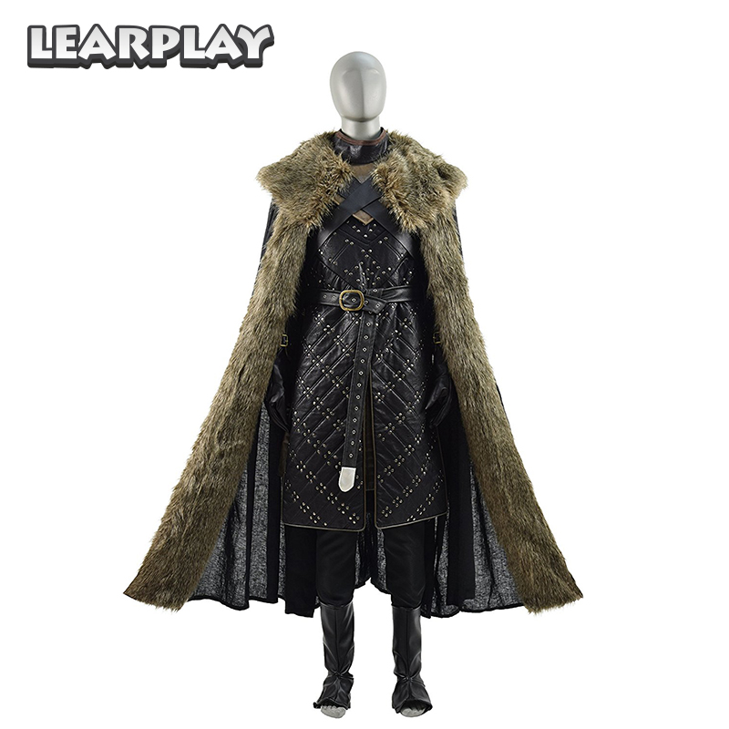 Game of Thrones saison 7 Jon Snow Knight Cosplay Costume pour hommes adultes en cuir bataille armure Costume hommes Halloween cape tenue