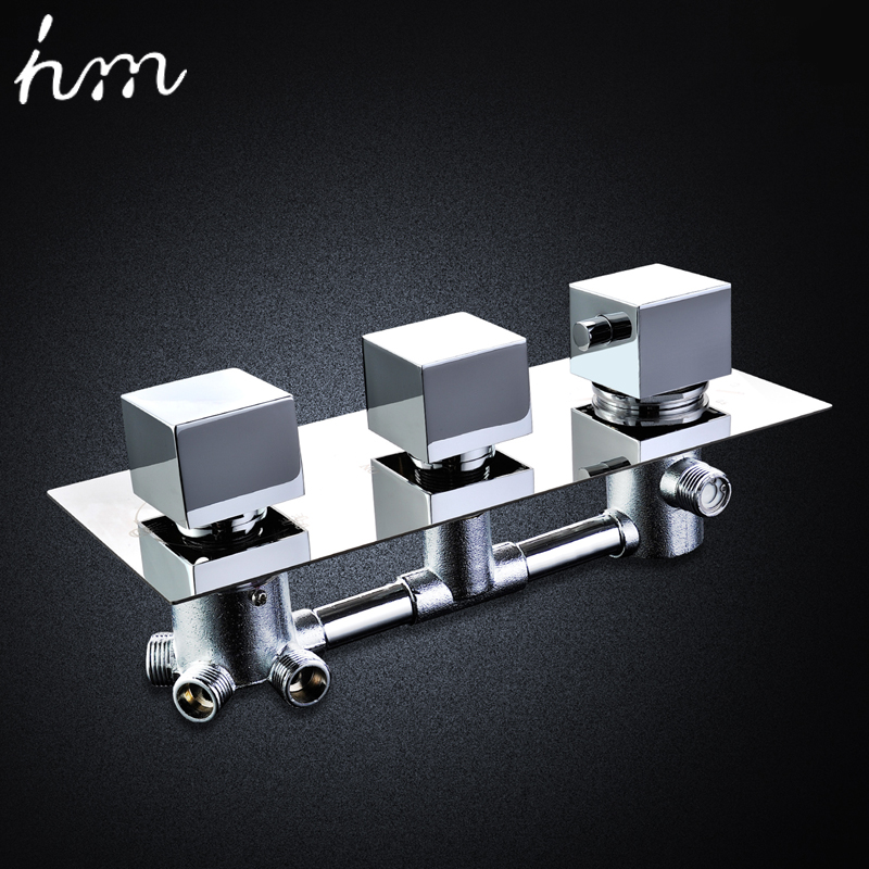 hm Wall Mounted Shower Mixer Valve 3 or 4 Water Outlets Thermostatic Chrome Bath Shower Faucet Accessories 3 Handles Valve