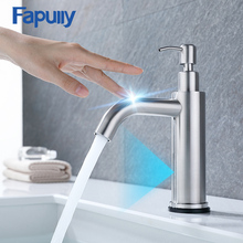Fapully Smart Touch Sensor Basin Faucet Chrome Multifunctional Bathroom With Soap Dispenser Control Tap Mixer 1049