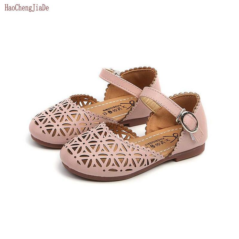 2018 Summer Fashion Children Shoes Girls Sandals Cutout Princess Girls Flat Soft Cute Closed Toe Kids Sandal Girls Single Shoes