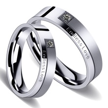 Titanium Stainless Steel Letter Endless Love Couple Rings for Lovers Rhinestone Wedding Bands Engagement Crystal