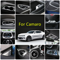Silver ABS Seat Adjust Button Gear Door Handle Air Outlet Steering Wheel Frame Cover For Chevrolet Camaro 2017 2018 AAA036