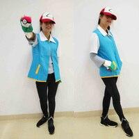 Japonya Anime Cosplay Canavar Kül Ketchum Trainer Kostüm Pokemon Gitmek Cep Gömlek Ceket Eldiven Şapka Topu Cadılar Bayramı Parti Giymek