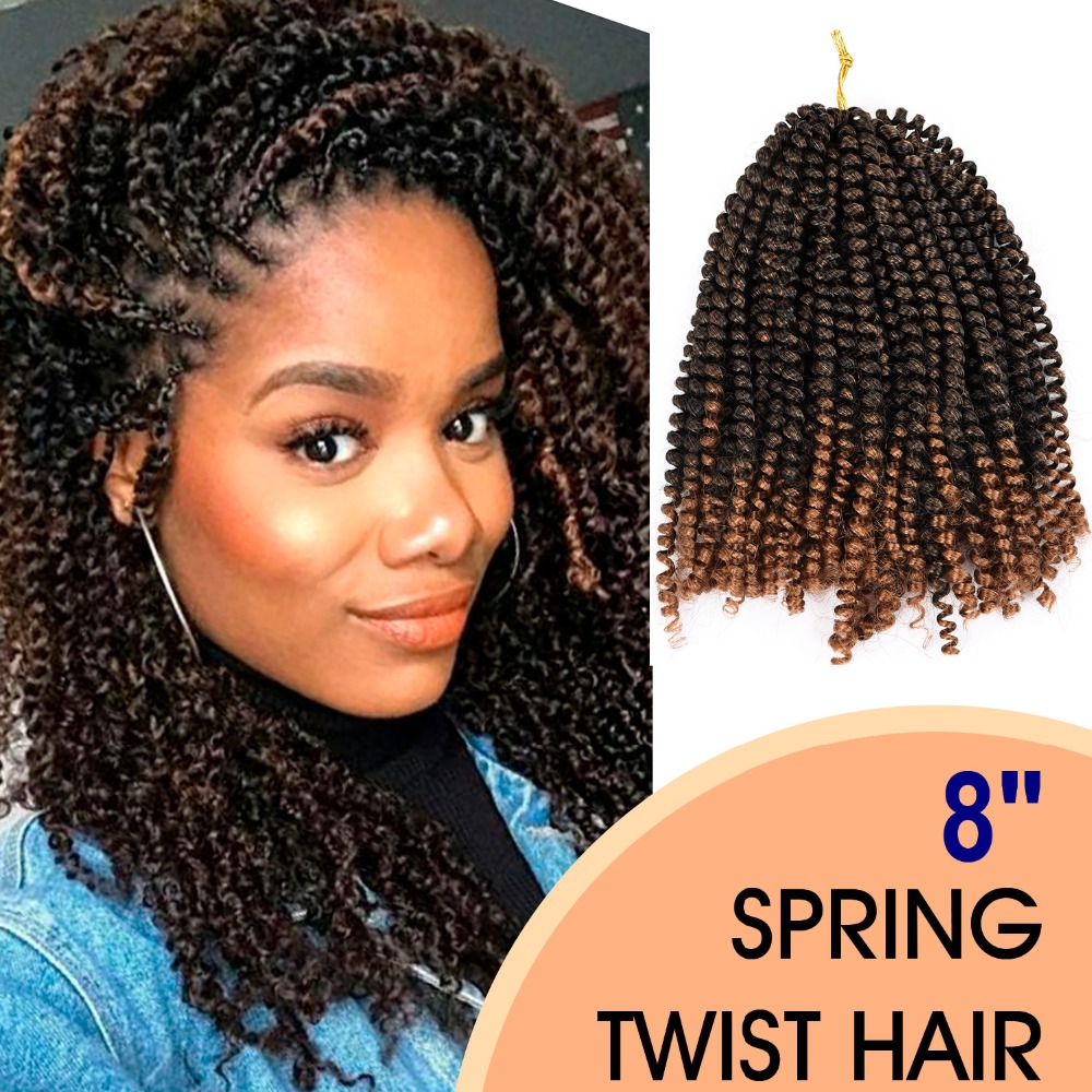 Silike 8 Inch Fluffy Spring Twist Hair Crochet Braids