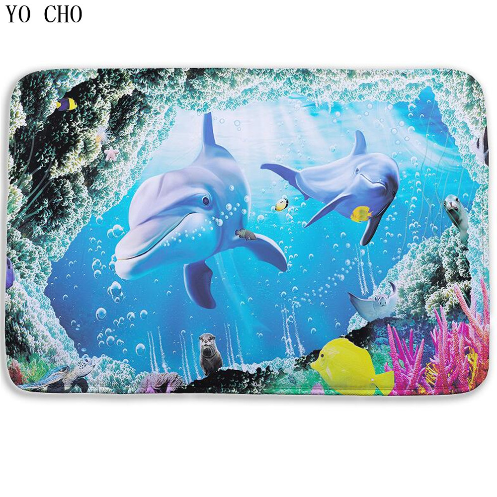 Fish Dolphin Bathroom Carpet 3d Towel Bath Mat For Toilet