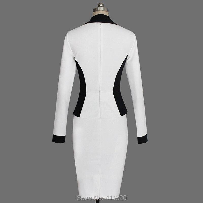 Womens Elegant Business Suits Blazer with Skirt Formal Office Uniform Designs Women Lapel Colorblock Knee Length Pencil Dress (18)