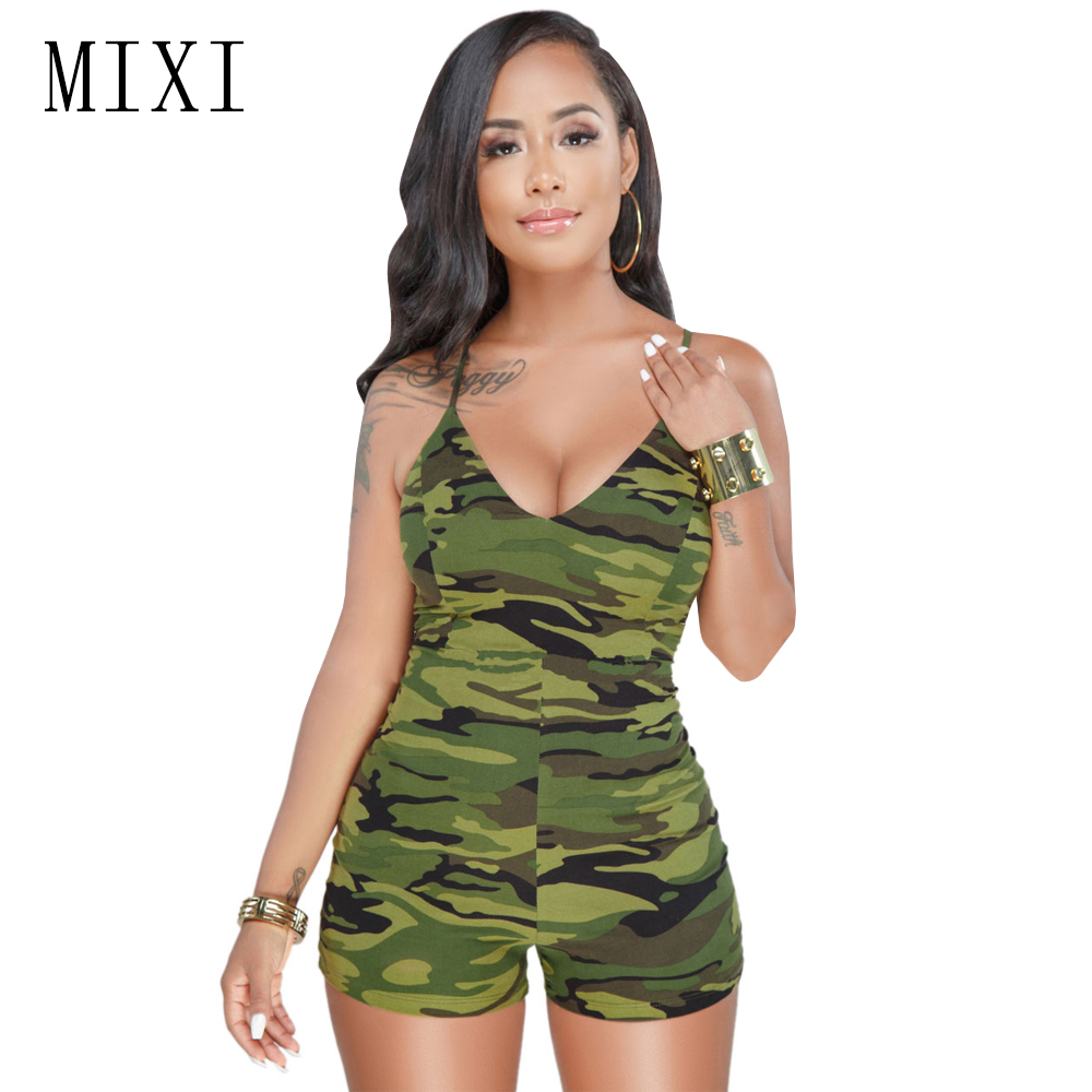 495259e29296a BerryPark Plus Size Camouflage Jumpsuit for Women Casual Side Stripe Street  Overalls Bodycon Shorts Bodysuit Camo ...