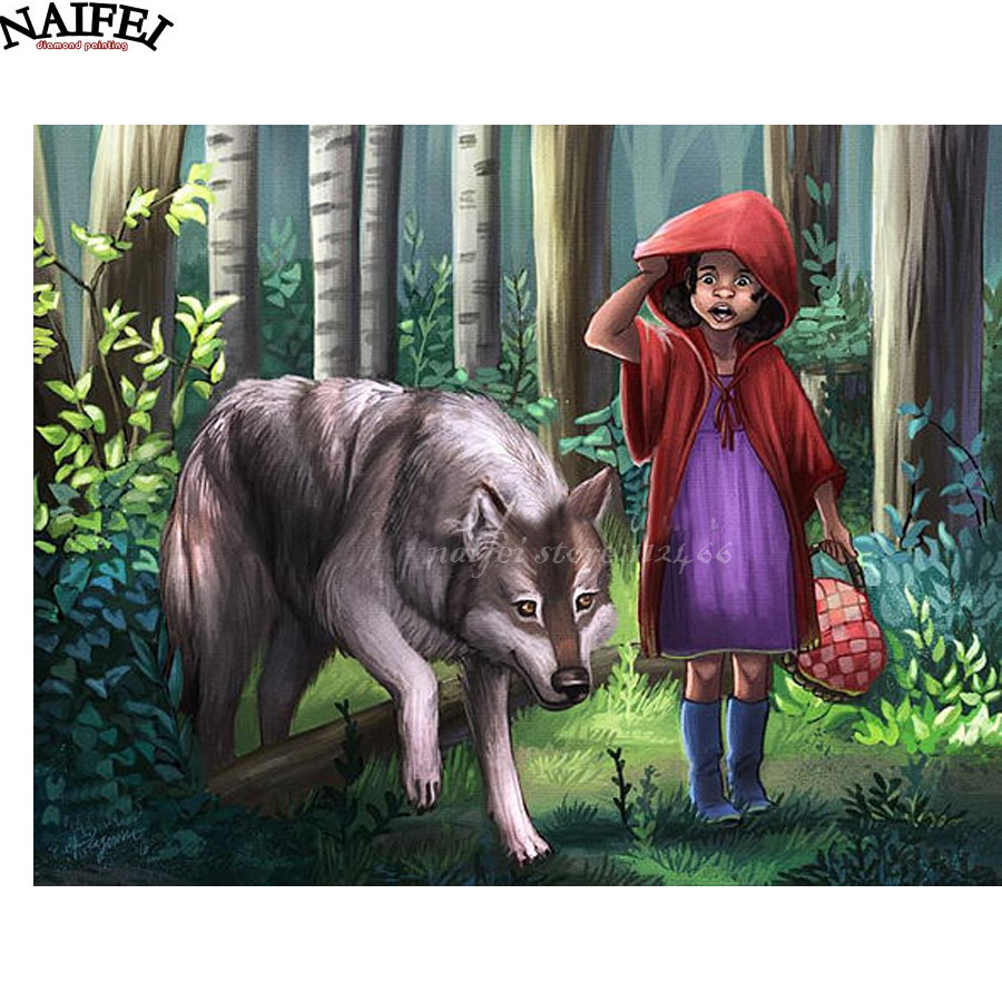 Red Riding Hood and Wolf,Fairy Tale Diamond Painting,Cross Stitch,Full square 5D Diamond Embroidery Mosaic Home Decor gifts