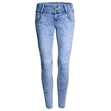 2016 Women Casual Pencil Pants Fashion Vintage High Waist Jeans Snowflake Skinny Jeans Woman Elastic Eaist