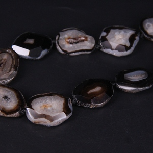 Image 5 - 15 17pcs/strand Black Agates Geode Faceted Slab Nugget Loose Beads,Natural Onxy Stone Drusy Druzy Slice Pendant Nacklace Jewelry