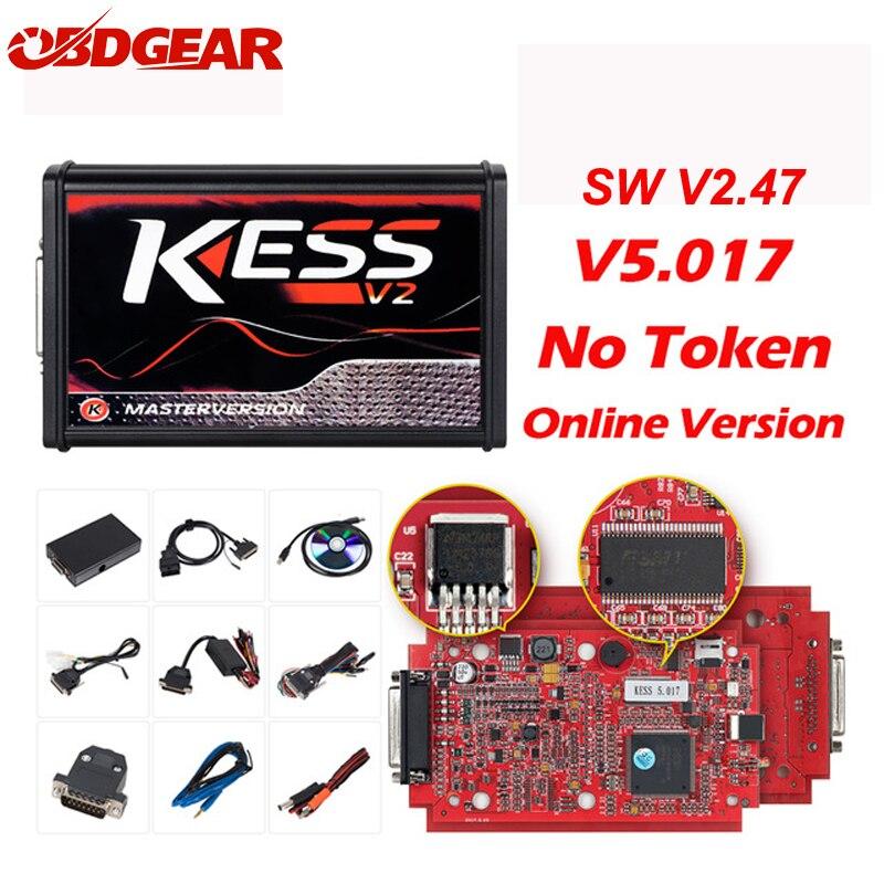 On-line V2.47 UE Rosso Kess V2 V5.017 OBD2 Gestione Sintonia Kit KTAG V7.020 4 LED No Token BDM Telaio K-TAG 7.020 ECU Programmatore