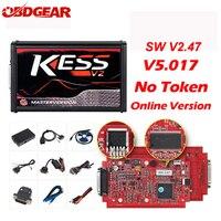 Online V2.47 EU Red Kess V2 V5.017 OBD2 Manager Tuning Kit KTAG V7.020 4 LED No Token BDM Frame K TAG 7.020 ECU Programmer