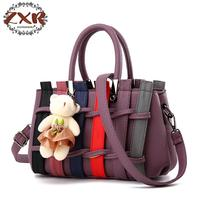 The New Fashion Atmosphere Elegant Casual Black Pu Ladies Handbag Fashion Ladies Shoulderpack Bear Decoration Sweet Series