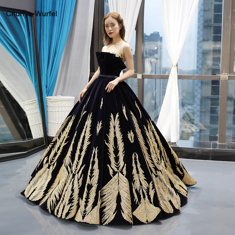 RSM66741 Black Special Evening Dresses Long O-neck Sleeveless Lace Up Back Prom Dress Floor Length Ball Gown Ladies Dresses 2019