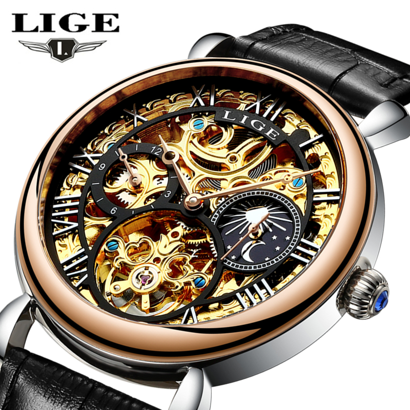LIGE Luxury Mens Watches Skeleton Automatic Mechanical Watch Men Leather Sport Outdoor Wristwatch Relogio Masculino box 1pcs men s luxury mechanical wristwatch skeleton watches hand wind up leather strap free shipping wholesale relogio masculino j5