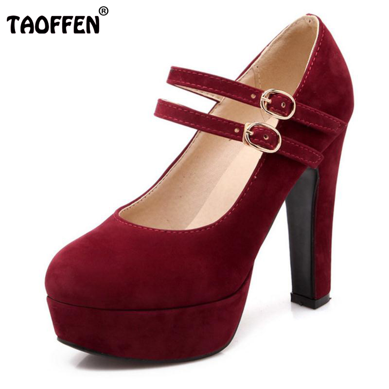 TAOFFEN women stiletto high heel shoes sexy lady platform spring fashion heeled pumps heels shoes plus big size 31-47 P16737 new fashion spring autumn women shoes platform high heels buckle strap thick heels pumps lady shoes small big size 31 43 0061