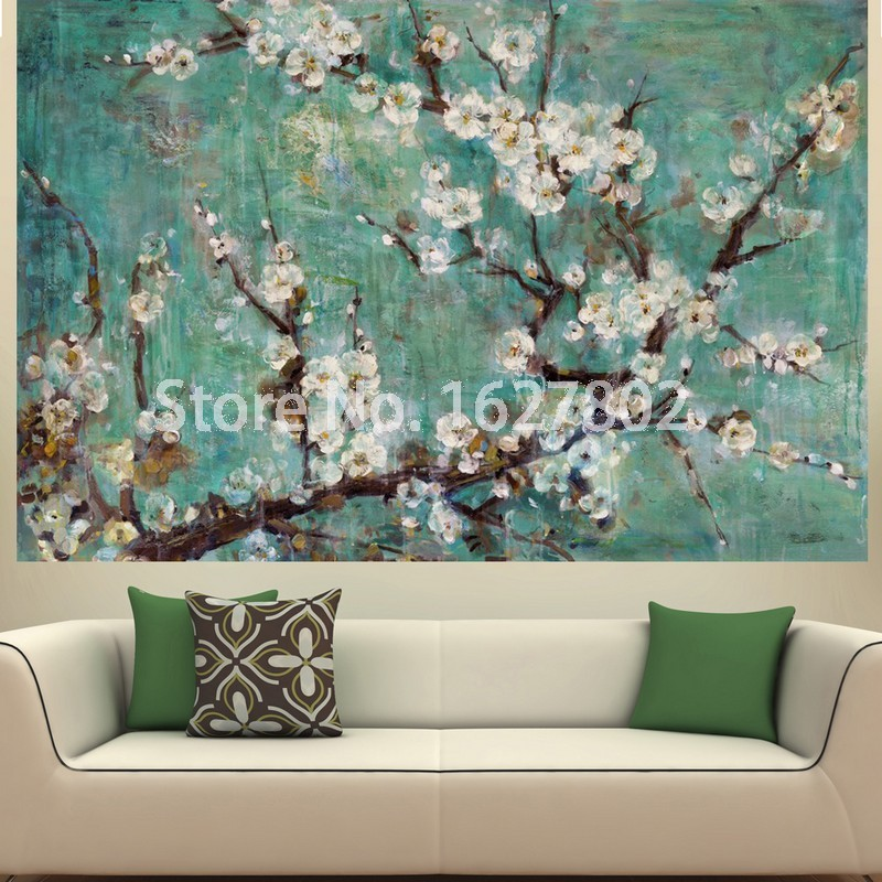 Hand painted flowers modern abstract oil paintings on for Modern art paintings for home