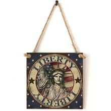 Vintage Wooden Hanging Plaque Liberty Sign Board Wall Door Home Decoration Independence Day Party Gift цены