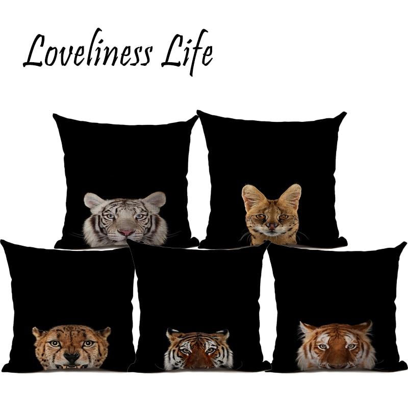 Orginal Tiger Heyvanı Çap olunmuş Kətan Yastığı Avtomobil - Ev tekstil - Fotoqrafiya 1