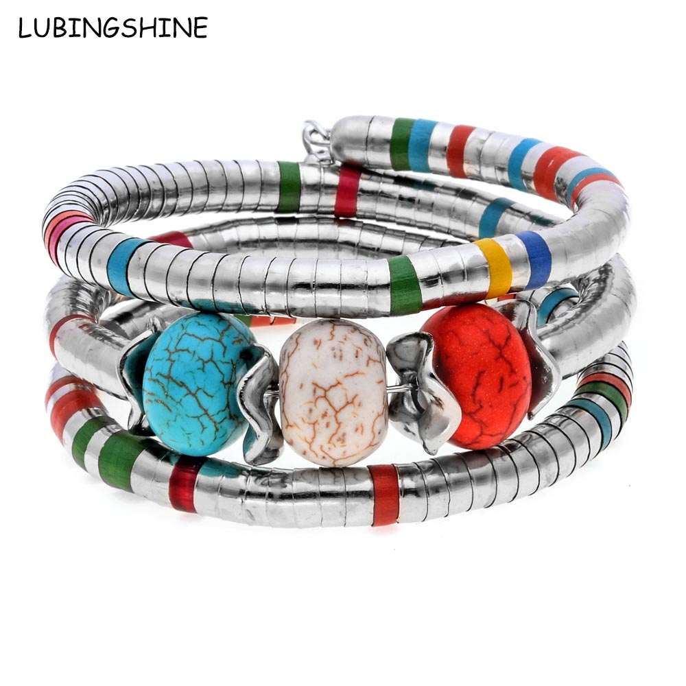 LUBINGSHINE Multilayer Colorful Enamel Bangles Natural Stone Beads Jewelry for Women Adjustable Bracelets For Gifts B590