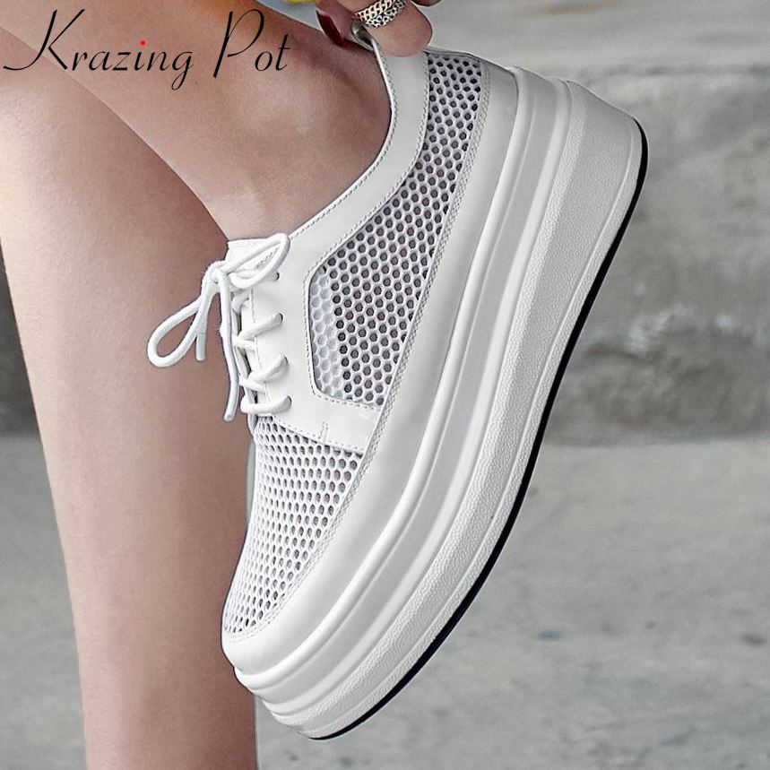 Woman brand new fashion round toe cow patent leather lace up thick high bottom superstars ventilated