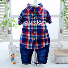 Boy clothing autumn new children's suit, fashion long sleeve Lapel Plaid long sleeve shirt two sets