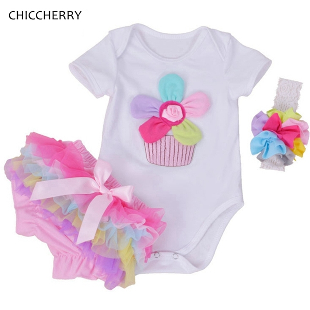 Rosa de Algodão Bodysuit Do Bebê Recém-nascido Menina Infantil Rendas Bloomer Definir 3D Flor Jumpsuit Headband Roupa Bebe Menina Bonito Da Criança Roupas