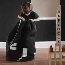 Украшение комнаты большой вместимости симпатичный дом сумка для хранения детская игрушка ребенок хлопок холст игрушки луч порт мешок домашний декор 65*40